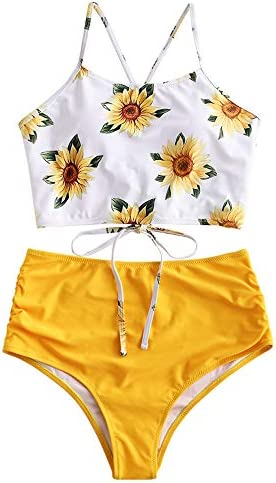 ZAFUL Women s Leaf Print Lace Up Ruched High Waisted Tankini Set Swimsuit Yellow 2 S product image