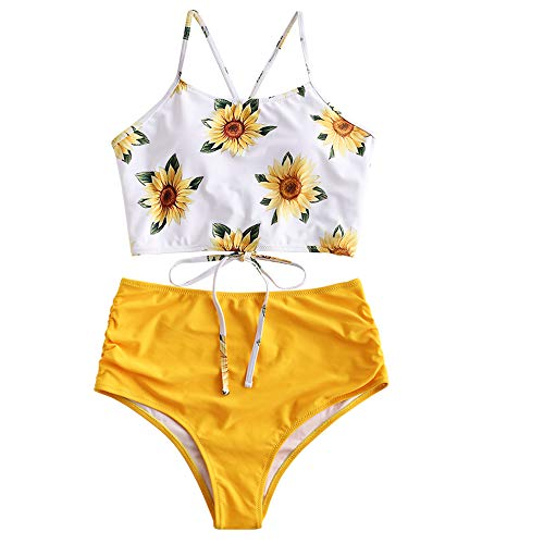 ZAFUL Women's Leaf Print Lace Up Ruched High Waisted Tankini Set Swimsuit (Yellow 2, S)