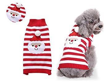 Tineer Pet Xmas Pull-Overs - Pull Chiot Sweater à Capuche Tricots Halloween Cartoon Chaud Manteau vêtements de Noël pour Petits Chiens Moyens Chats Lapins (XXL, Père Noël)