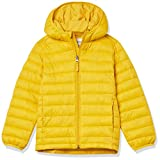 Amazon Essentials Kids Boys Light-Weight Water-Resistant Packable Hooded Puffer Jackets Coats, Golden Yellow, Large