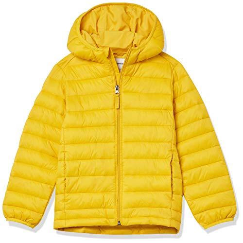 Amazon Essentials Light-Weight Water-Resistant Packable Hooded Puffer Jackets Coats Jacke, Goldgelb, XXL