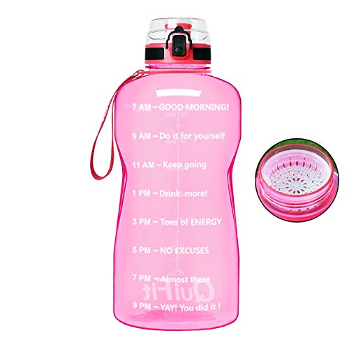 QuiFit Half Gallon Water Bottle - with Strainer & Time Marker, Large BPA Free Infuser Water Bottle,for Fitness and Outdoor Enthusiasts, Leak-Proof and Durable(Transparent,64 oz)
