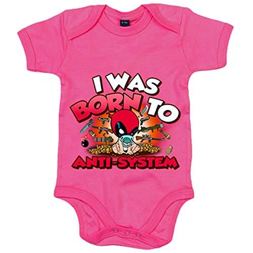 Body bebé I was born to antisystem parodia divertida Baby Deadpool - Rosa, 6-12 meses