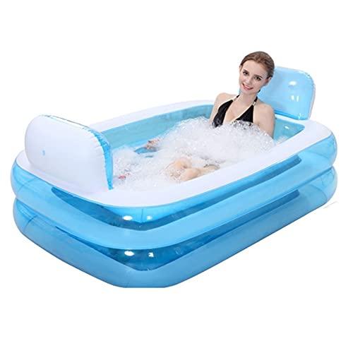 Bañera inflable de vapor de plástico portátil plegable bañera de remojo bañera para el hogar, para adultos y niños y niñas, bañera para ducha, spa, color azul, tamaño: 152 x 108 x 60 cm