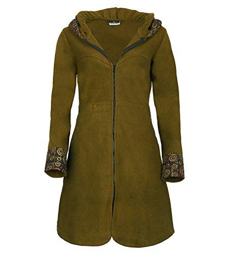 KUNST UND MAGIE Damenmantel aus Fleece, Größe:38, Farbe:Army Green