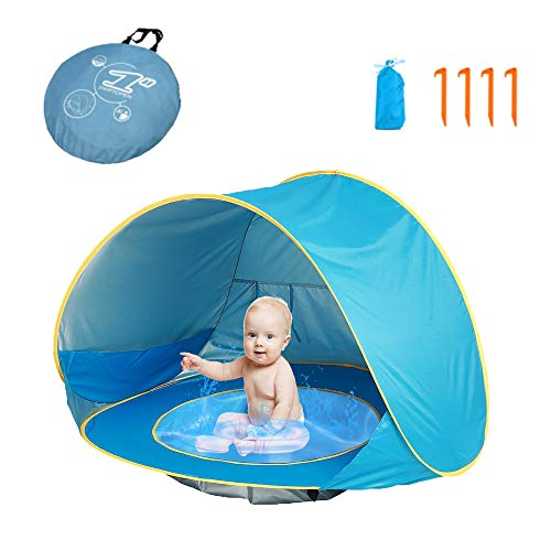 HUSAN Portable Baby Tent Beach Instant Tents Children's Camping Tent Lightweight Tent UPF 50 Sunshade Shelter Age 0 - 3 for 1 - 2 children