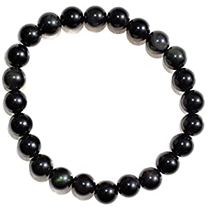 "Zenergy Gems Charged Premium 7"" Gold Sheen Rainbow Obsidian Crystal 8mm Bead Bracelet Tumble Stretchy + Selenite Charging Heart Included"