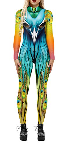 Halloween Costumes Cosplay Adult 3D Skeleton Print Bodycon Skinny Catsuits Jumpsuits,Peacock,S