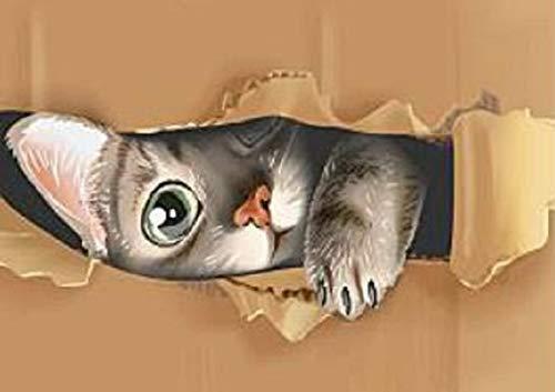 A4額付き!ダンボールでかくれんぼの猫 ダイヤモンドアート(KIC-02-1-214)/全面貼り付け(210mm*297mm)/丸型(Round)/ビーズアート 手芸キット