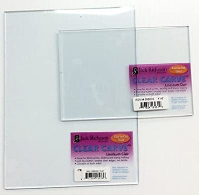 Clear Cut Linoleum Set -3 Pack Printmaking Transparent Carving sheets Small Block Printing easy Carve See Through plates
