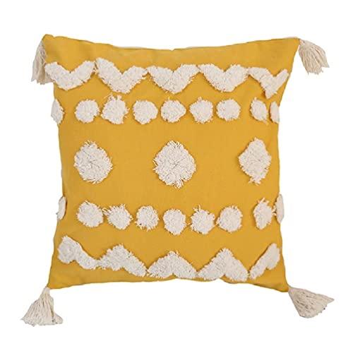 Funda de almohada de estilo nórdico con flecos y borla bohemia, diseño geométrico, pompón, diseño geométrico, funda de cojín para sofá cama, coche, funda de almohada con borla nórdica