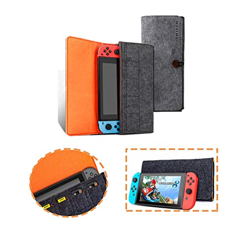 Carrying Case for Nintendo Switch Lit Portable Travel Carrying Bag Ultra Slim Professional Protective Felt Pouch for Nintendo Switch Lite Comfortable Carrying Case Fit with 5 Game Slots(Black)