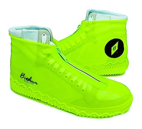 Broham Ochrona przed deszczem buty – wodoszczelne ochraniacze na buty, odporne na deszcz, śnieg i błot, silikonowe ochraniacze na buty w kolorze neonowo-żółtym