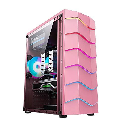 BBNB Cajas Rosadas De La Computadora, Caja De La Computadora De Gaming De La Torre Media ATX/M-ATX/ITX, Panel De Vidrio Templado Lateral, Panel De Tira De Luz RGB Personalizada