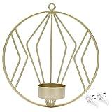 Portavelas para Colgar en la Pared Portavelas Circular geométrico para Colgar en la Pared Adornos de Metal para decoración del hogar Oro