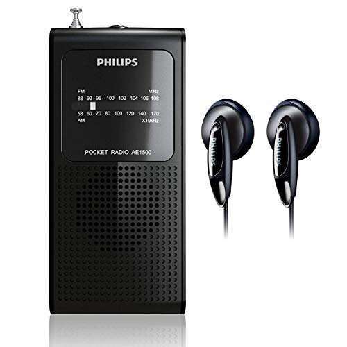 Philips AM FM Battery Operated Portable Pocket Radio, AM FM Compact Transistor Radios Player with Bonus Philips in-Ear Headphones (Black)