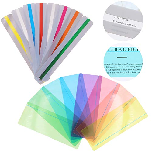 16 Stücke Geführte Lesen Markieren Streifen Farbige Overlay Lese Lineale Tracking Können mit Visuellen Stress Reduzieren (8 Standardgrößen und 8 Große Größen)