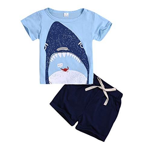 MAYOGO Conjunto Bebé Verano Recién Nacido Infantil Bebé Niño Dibujos Animados Tops Camiseta Manga Corta y Pantalones Cortos Conjuntos de Ropa Trajes Chico 2-7 Años