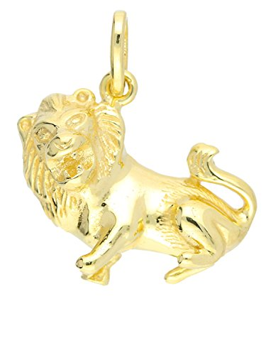 My Gold Löwe Anhänger (Ohne Kette) Gelbgold 333 Gold (8 Karat) Massiv Gegossen 18mm x 19mm Sternzeichen Horoskop Goldanhänger Zodiac Basic A-05976-G301-Löw