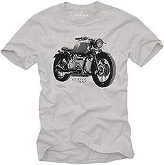 MAKAYA Camiseta Motero - R100 Oldtimer - Manga Corta Cuello Redondo T-Shirt para Hombre