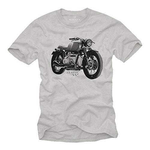 MAKAYA Motorrad T-Shirt Herren - R100 Vintage Biker Oldtimer Motiv - Kurzarm Rundhals grau Größe L