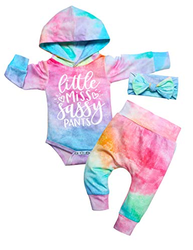 Toddler Baby Girl Clothes Tie Dye Hoodie Sweatsuit Infant Baby Girl Outfit+Pant+Headband 3PC Set 9-12 Months
