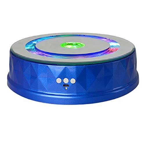 N\\C Elektrischer Ausstellungsständer aus Kunststoff Bunte Lichter Plattenspieler Uhr Digitale Produkte USB-Ladehalter - Blau