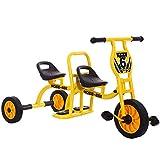 HWJL Stroller Tricycle Bicicleta Doble, Kindergarten al Aire Libre Juguete Pedal Doble Preescolar Especial niño Triciclo niños Triciclo Bicicleta tándem bebé 2-6 años Hombre y Mujer,Amarillo