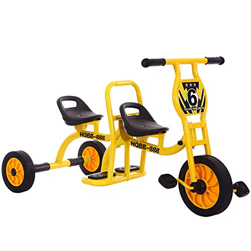 HWJL Kinderwagen Dreirad Doppelfahrrad, Kindergarten Outdoor Spielzeug Pedal Doppel Vorschule Spezielle Kind Dreirad Kinder Dreirad Fahrrad Tandem Baby 2-6 Jahre,Gelb