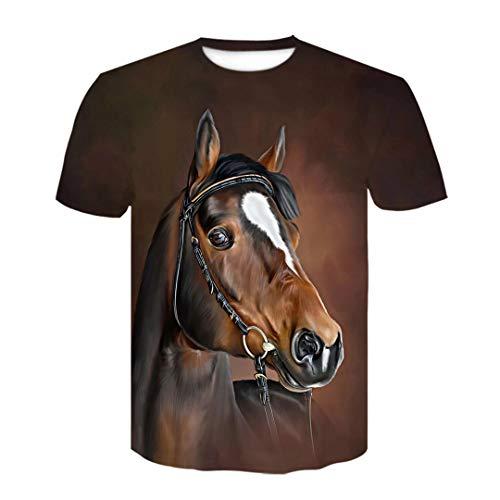 Verano O-cuello flor caballo camiseta 3D camiseta animal hombres mujeres tamaño grande