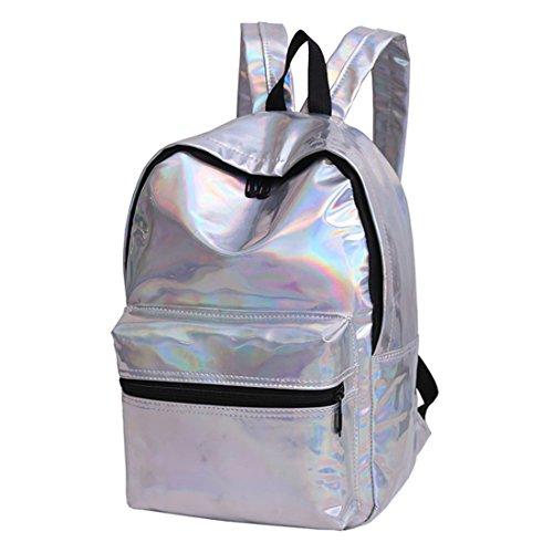 Borsa Da Donna Grande Zaino Ologramma Daypacks Borsa Da Sacco Borsa Da Viaggio Olografica Per Ragazza Adolescente Argento Oro Silver