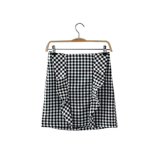 Vrouwen Elegante Ruches Plaid Geruite Rokken Terug Rits Retro Dames Streetwear Mini Rok