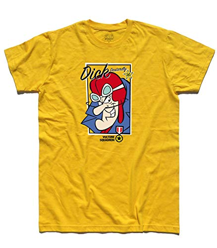Dick Dastardly Vulture Squadron T-shirt, Grey or Yellow, L, XL