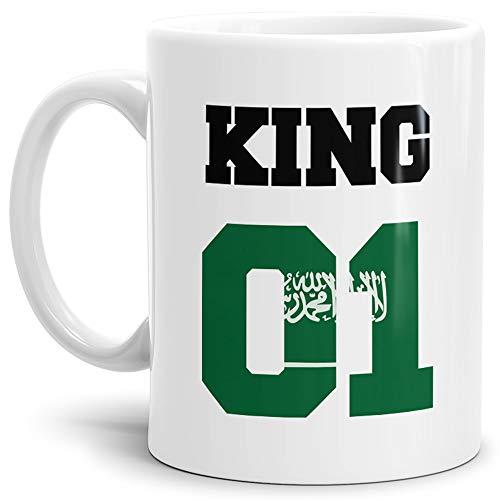 Tassendruck Flaggen-Tasse King - Saudi-Arabien - Pokal/Mug/Cup/Becher/WM/Pärchen/Paare/Fre&e/Beste Qualität - 25 Jahre Erfahrung