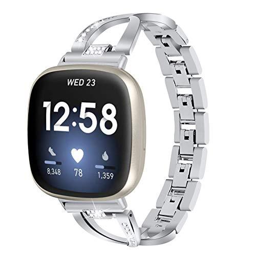 Gimart Kompatibel für Fitbit Versa 3 Metallband, Frauen Mädchen Slim Bling Edelstahl Versa 3 Armband Ersatz Uhrenarmband Band Armband für Fitbit Sense Smartwatch (Silber)