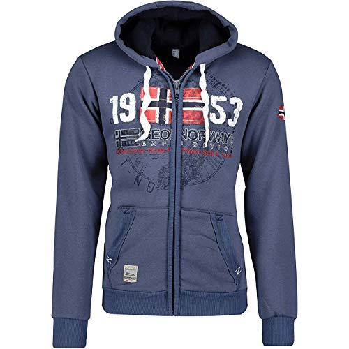 GEO NORWAT GAPIGAL Men - Herren Kapuzenjacke Zip Hoodie - Herren Logo Hoody Sweat Shirts - Langarm Warm Hoody Sweat Shirt Kapuzen - Hoodie Sweatjacke Sport Casual Kapuze Basic (Blau L)