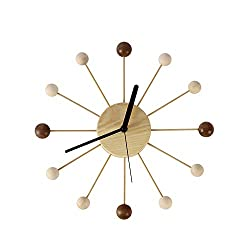SHISEDOCO George Nelson Ball Clock in Wood and Bamboo, Decorative Modern Silent Wall Clock for Home, Kitchen,Living Room,Office etc. - Colorful Wooden Mid Century Retro Design(Full Range Available)
