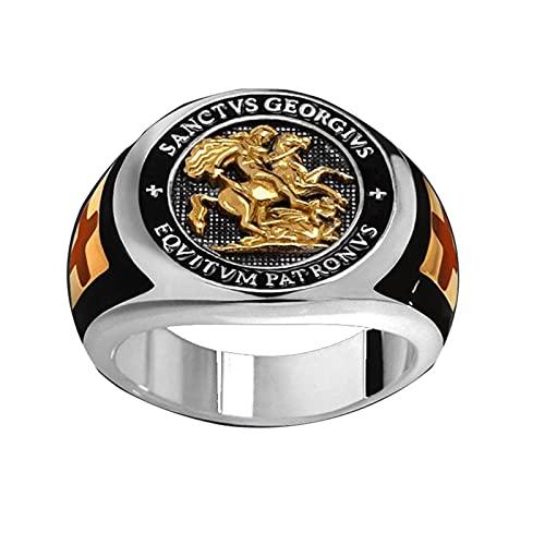 Anillo de Cruz Templario de Caballero de Color plateado, anillos de banda Punk Crusaders para hombre, joyería de regalo de moda92
