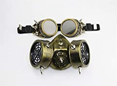 Ulalaza Steampunk Gas Goggles Mask Retro Gothic Punk Zombie Soldiers Skull Mask for Halloween Cosplay Props #3
