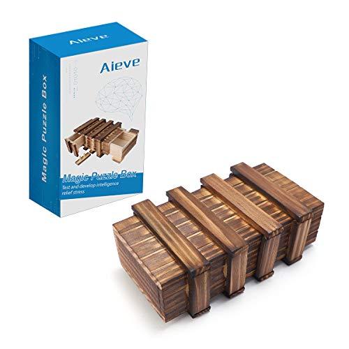 AIEVE Magische Geschenkbox Magic Box Trickkiste Box Zauberkiste Holzgeschenkbox Denkspiel mit 2 Fächern für klein Geschenk Schmuck Geld Weihnachten