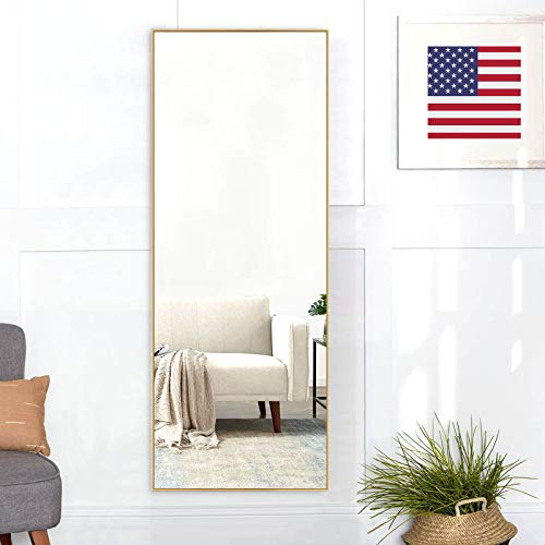 """self Full Length Floor Mirror 43""""x16"""" Large Rectangle Wall Mirror Hanging or Leaning Against Wall for Bedroom, Dressing and Wall-Mounted Thin Frame Mirror - Gold"""