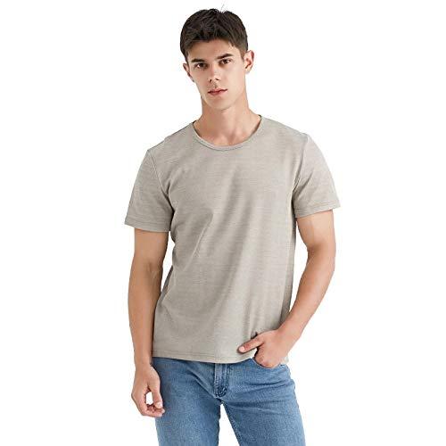 KOIJWWF Herren Strahlenschutzanzug Silberfaser T-Shirt, Schutz vor elektromagnetischer Strahlung 34,2% Silberfaser T-Shirt Neue Energie Fahrzeuge EMF Abschirmung T-Shirt,Round Neck,XL