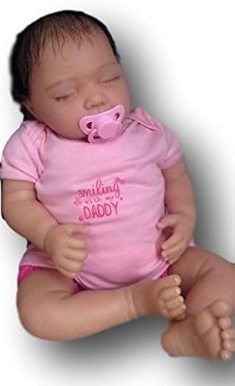 Kinder Reborn Baby Boy Puppe, 55,9cm lang, Neugeborene,, braun verwurzelt Echthaar, eingeschlafen, schwere, Poppy, UK Verkufer