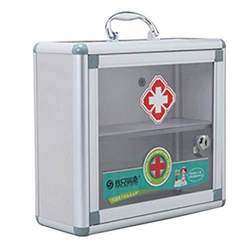 Leileixiao Caja de píldoras para medicamentos ambulatorios de emergencia médica caja de almacenamiento de aluminio para el hogar (color: plata, tamaño: L30 cm)