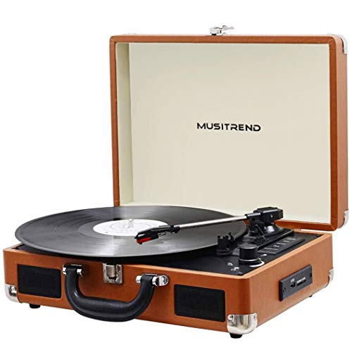 Suitcase Record Player Portable Vinyl Turntable USB/SD Recording Built-in 2 Stereo Loudspeaker and Belt Drive,Aux-in,RCA ,3 Speed 33/45/78 RPM (Brown-USB)