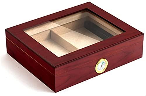 LSWY Caja de Humor de Escritorio, Caja de cigarros de Viaje Caja de cigarros portátiles con Divisor, humidificador e higrómetro para 25 cigarros (20-25 cigarros) (Color: Vino Tinto)
