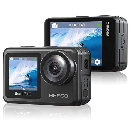 アクションカメラ AKASO Brave 7 LE 水中カメラ 4K 20MP 高画質 IPX7本機防水 デュアルカラースクリーン Wi-Fi EIS2.0手ぶれ補正 SONYセンサー 1350mAhバッテリー2個 40M防水(ケース必要) リモコン付き アクションカム ウェアラブルスポーツカメラ