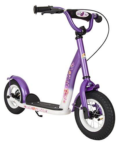 BIKESTAR Roller Kinderroller Tretroller Kickscooter mit Luftreifen für Mädchen ab 4-5 Jahre 10 Zoll Classic Kinder Scooter Lila & Weiß