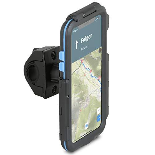 Wicked Chili Tour Case kompatibel mit Apple iPhone XS MAX – passgenaues Case mit Fahrrad Lenkerhalterung für Navigation (Schutz vor Regen, Ladekabelanschluss) schwarz