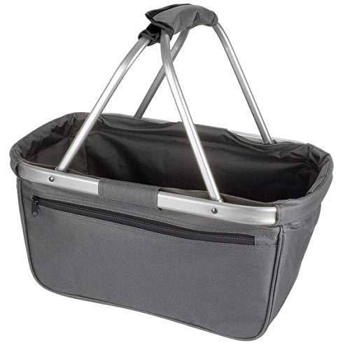 Einkaufskorb faltbar aus Stoff toll als Faltkorb Einkaufstasche oder Picknickkorb - Grau